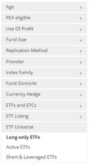 Quelques critères de sélection des ETF sur le site justetf.com